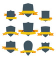 vintage shields set with yellow ribbons isolated vector image