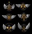 vintage weapon emblems set heraldic coat of arms vector image vector image