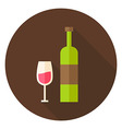 Wine Bottle with Glass Circle Icon vector image vector image