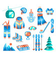 winter sports and fun color flat icons set vector image vector image