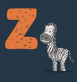 zebra character with letter z vector image
