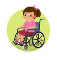 a little sad disabled girl in a wheelchair vector image