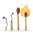 a set of cartoon matches burned match burning vector image vector image