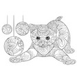 adult coloring bookpage a cute cat with vector image