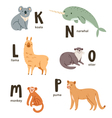 Animal alphabet letters k to p vector image