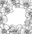 beautiful monochrome floral frame with orchid vector image
