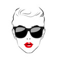 beautiful women face with sunglasses art vector image vector image