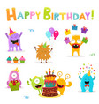 birthday monsters set vector image vector image