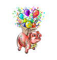 chinese zodiac sign year pig happy new vector image