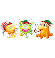 Christmas theme with three monsters having party vector image vector image