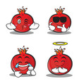 collection set pomegranate cartoon character style vector image vector image