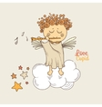 cupid playing flute vector image vector image