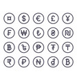 currency symbol simple flat icons collection set vector image
