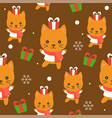 cute kitten winter theme editable line vector image