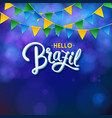 dark blue square hello brazil banner image vector image