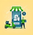delivery man holds a food bag with motorcycle vector image vector image