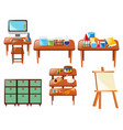 different school objects on table vector image