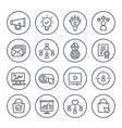 digital marketing icons on white line set vector image vector image