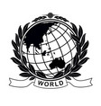 earth globe in laurel crown vector image vector image