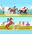 equestrian horizontal banners set vector image vector image