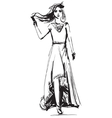 Fashion models in the dress sketch vector image vector image