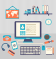 flat design of modern creative office workspace vector image vector image