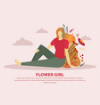 flower girl flat composition vector image vector image