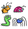 funny cartoon insects crawling somewhere vector image vector image
