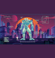 giant robot in futuristic city vector image