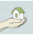 green house in hands concept vector image vector image