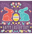 greetings card with easter eggs and two rabbits vector image vector image