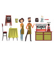 happy man and woman barista wearing plaid shirts vector image