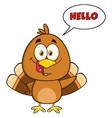 happy turkey bird cartoon character waving vector image vector image