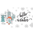 horizontal christmas card fox hello winter vector image