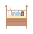infant sleeping in wooden cot childhood vector image