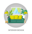 living room interior with furniture cartoon vector image