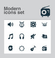 multimedia icons set with mute tambourine volume vector image vector image