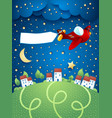 night landscape with airplane banner and village vector image