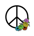 peace symbol with flower decor icon for cut vector image vector image