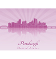 Pittsburgh skyline in purple radiant orchid vector image vector image