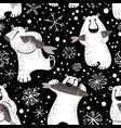 polar bears seamless pattern with fish and vector image