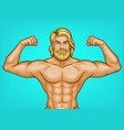 pop art naked bearded athlete sportsman vector image