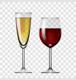 realistic transparent red wine and champagne glass vector image vector image