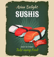 retro japanese sushis poster vector image