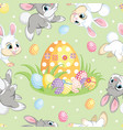 seamless pattern easter bunnies and big egg vector image vector image