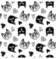 Seamless pattern with cute cats and hearts