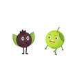 set of cute cartoon fruit vector image