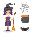 set of cute halloween elements objects and vector image