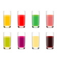 set of glasses with juice from fruits vector image vector image