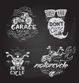 set of vintage motorcycle emblems labels badges vector image